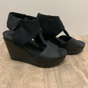 Eileen Fisher Black Mesh Wedges NWOT